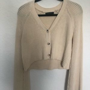 Cream Knitted/Button Up Sweater